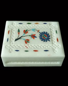White Marble Jewelry Box with Inlay Design