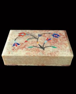 Light Red Marble Jewellery Box with Inlay Design
