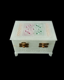 White Large Marble Jewelry Box with Mirror