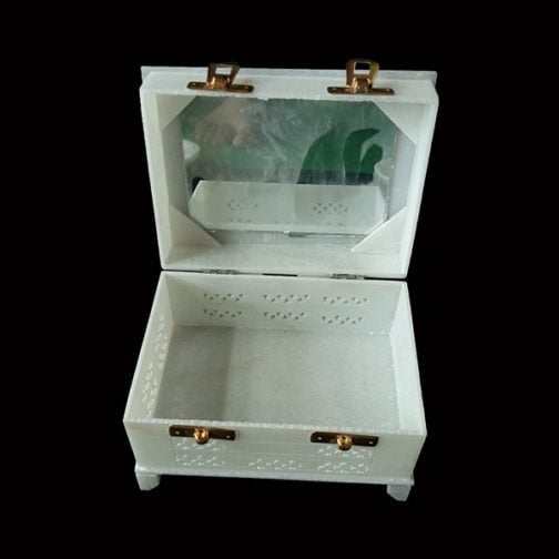 White Marble Jewelry Box with Mirror