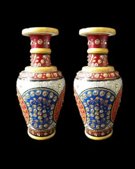 6 Inch Blue Red Marble Flower Pot with Kundan Work