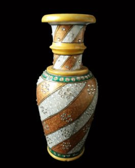 9 Inch Brown White Marble Flower Pot with Kundan Design