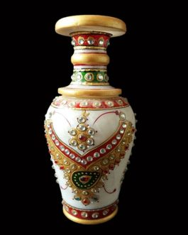 6 Inch Golden Jewelry Design Marble Flower Pot Pair