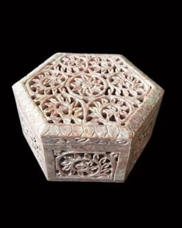 Light Brown Hexagon Marble Jewelry Box