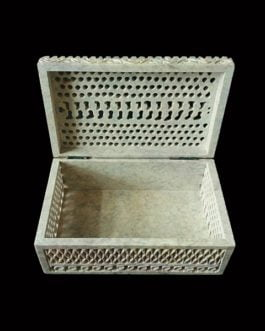 Light Brown Leaf Design Soapstone Marble Jewelry Box