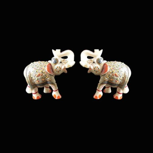 marble elephant statue pair