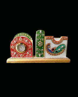 White Marble Meenakari Design Mobile, Pen and Visiting Card Holder