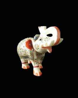 Painted Marble Elephant Statue Pair