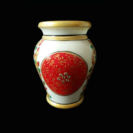 painted marble flower pot