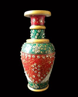 6 Inch Red Green Marble Flower Pot Pair
