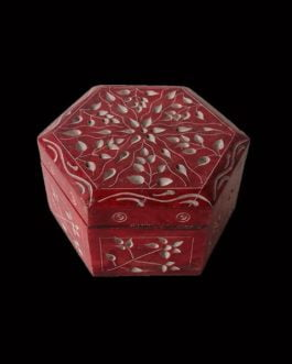 Red Marble Jewelry Box Hexagon Shape