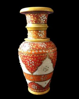 9 Inch Red Marble Flower Pot