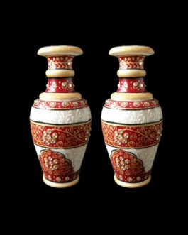 6 Inch Red White Marble Flower Pot Pair