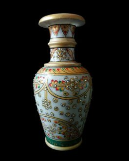 9 Inch White Marble Flower Pot with Kundan Work