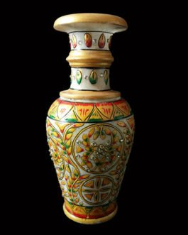 9 Inch Yellow Marble Flower Pot