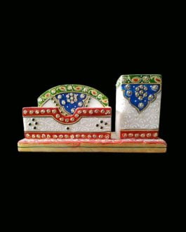 Meenakari Design White Marble Visiting Card Holder with Pen Stand