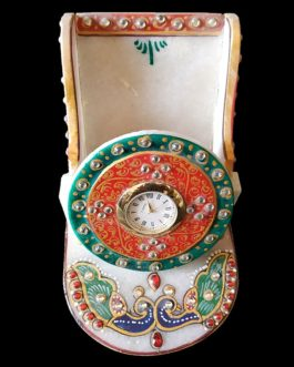 White Marble Mobile Stand with Quartz Watch