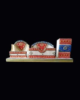 White Marble Meenakari Design Mobile Stand, Visiting Card Holder and Pen Stand