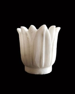 Lotus Design White Marble Candle Stand